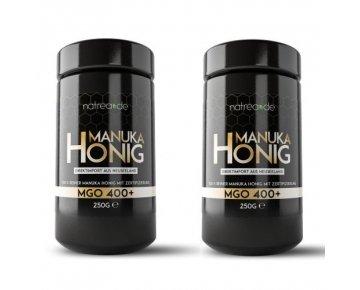Natrea Manuka Honig im hochwertigen Violettglass | MGO 400+ ✔ Direktimport aus Neuseeland ✔ zertifizierter MGO-Gehalt ✔ 2er Pack (2 x 250 g)